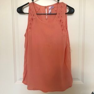 Coral Tank Top with Shoulder Detail